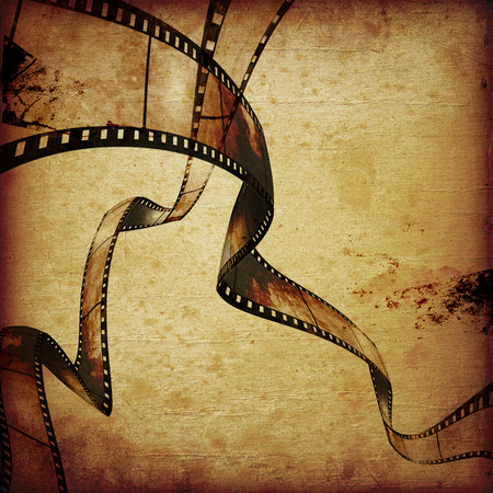 movie camera: abstract composition of movie frames or film strip