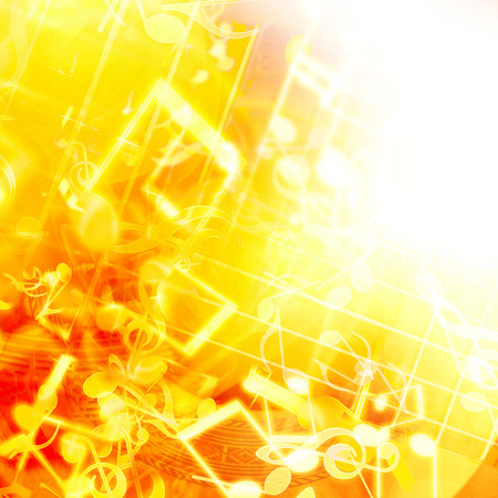 lights on: golden abstract background with music notes Stock Photo