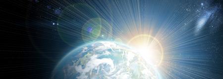 buonanotte: pianeta con alba sullo sfondo di stelle