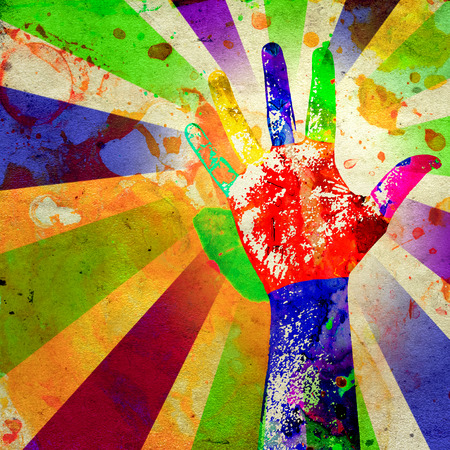 forensic: abstract grunge poster of a hand with watercolor stains Stock Photo