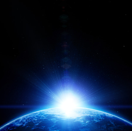 earthlike: Blue planet earth in outer space