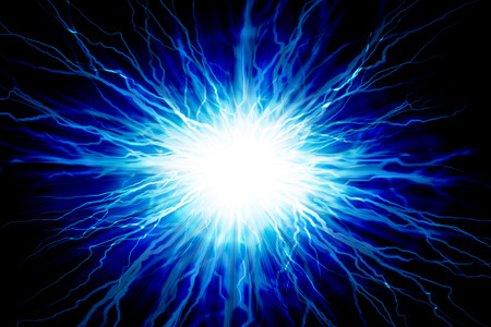 electrocute: Electric  flash of lightning on a blue background Stock Photo