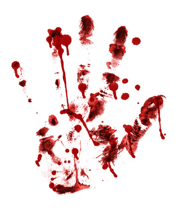 ink stain: red hand print on a white