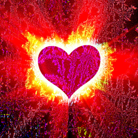 heartache: red heart with rays on a black background, abstract