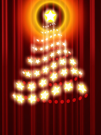 blurring: Abstract christmas tree on a dark red background
