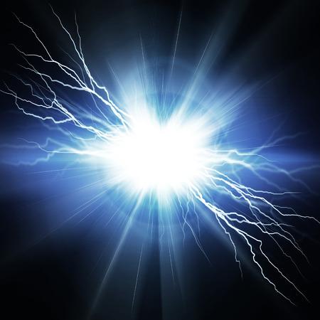 pernos: Eléctrica relámpago sobre un fondo azul