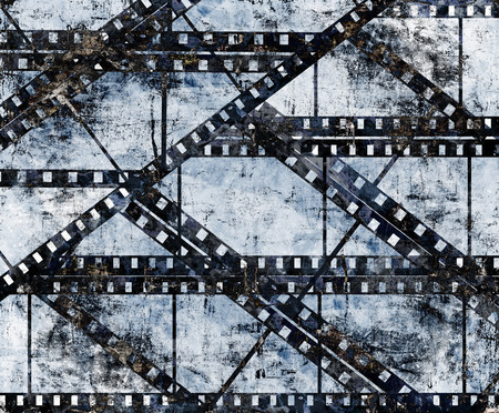 movie production: old film strip with some spots Stock Photo