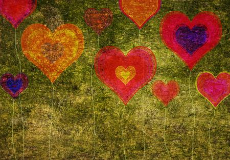 Grunge colorful hearts, vintage background photo