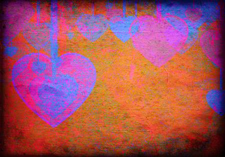 premise: hearts on grunge background, an abstract figure