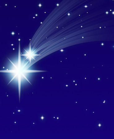 meteor shower: falling star, on a dark starry background Stock Photo