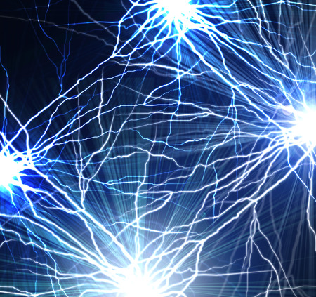 electrocute: Electric flash of lightning on a dark blue background