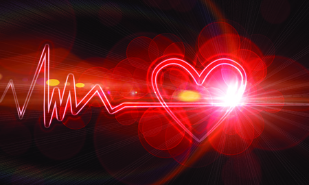 heart monitor: abstract heart monitor on a dark red background Stock Photo