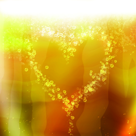 opulence: heart of the bubbles in a glass of champagne, romantic background