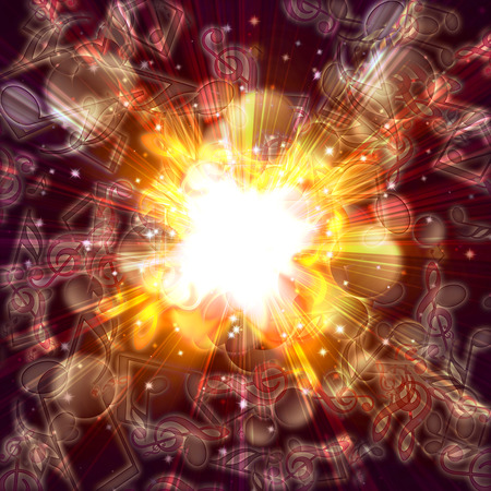 pc tune: magic burst with stars and music notes, abstract background