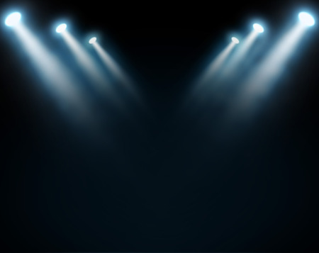 spotlight background: Blue spotlights on a dark background, abstract