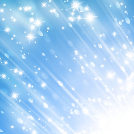whirling: bright glitters on a soft blue background Stock Photo