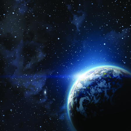 planet earth in the starry background,abstract Stock Photo