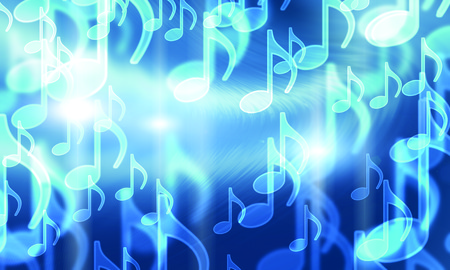 nb: lights in the form of musical symbols on a dark Stock Photo