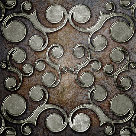 art materials: grunge metal plate with classic ornament Stock Photo