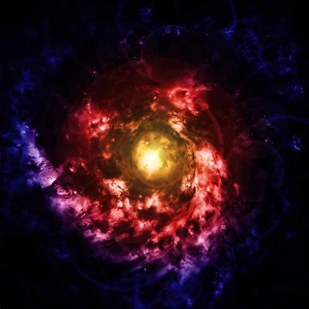 emanation: spiral galaxy in a dark space, abstract background