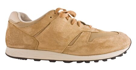 suede sports shoes, closeup isolated on white 写真素材