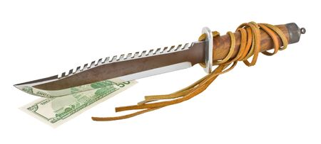 hunting knife with teeth cut fifty dollars, and the waist on a white background Stok Fotoğraf