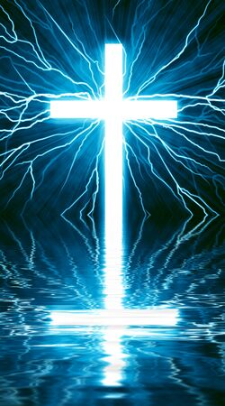glowing cross on a black background, with radial rays of light Imagens