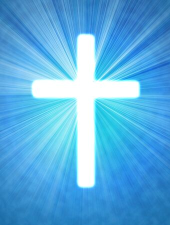 glowing cross on a blue background, with radial rays of light Imagens