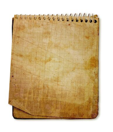 old used notebook on white background Фото со стока