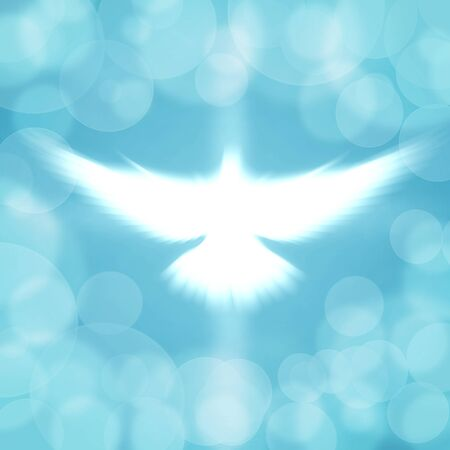 shining dove with rays on a soft blue background