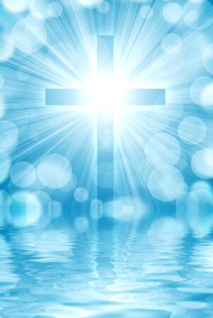 glowing cross on a light background, with radial rays of light Imagens
