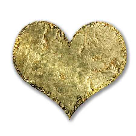 gold metallic grunge heart on a white background
