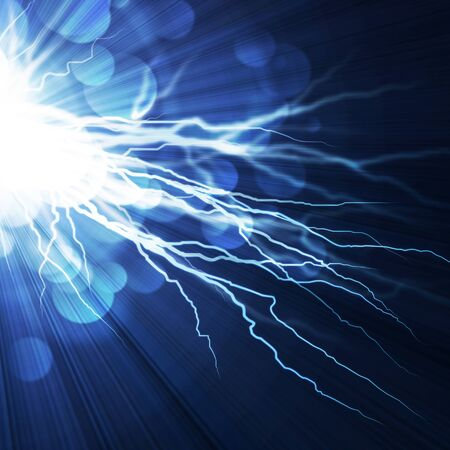 Electric  flash of lightning on a blue background Stock Photo