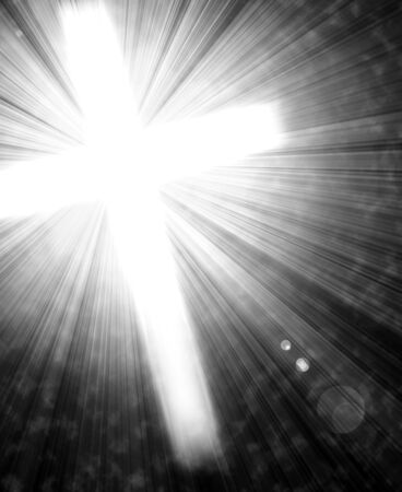 glowing cross with radial rays of light Imagens