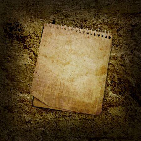 old used notebook on grange wool Фото со стока