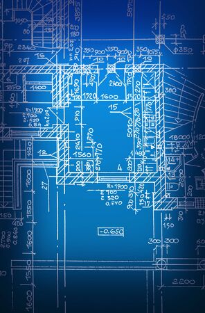 architectural drawing, made by hand on a blue background Stock fotó