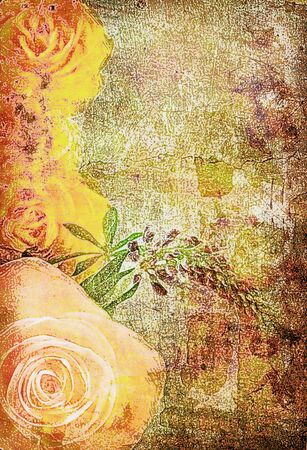 roses on the old grunge texture with some spots