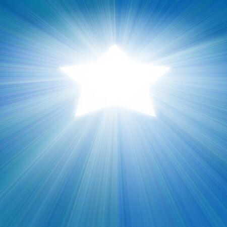 ciel bleu avec une lueur de lumière blanche en forme d'étoile