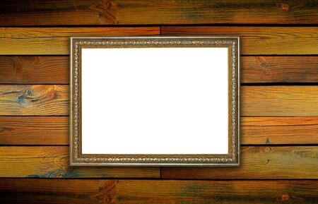 frame, the painting on a wooden background Banco de Imagens