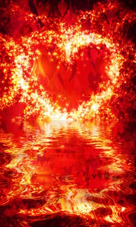 abstract heart of sparks and reflection in the waves on a dark background
