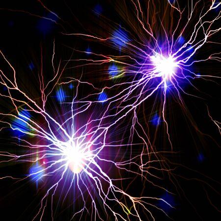 Electric flash of lightning on a dark blue background