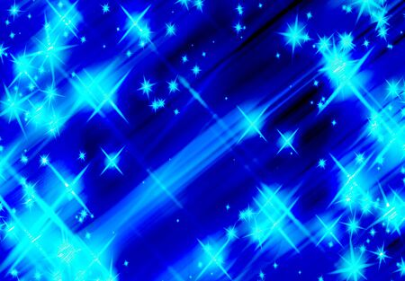 bright glitters on a soft flying star blue background
