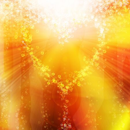 heart of the bubbles in a glass of champagne, romantic background