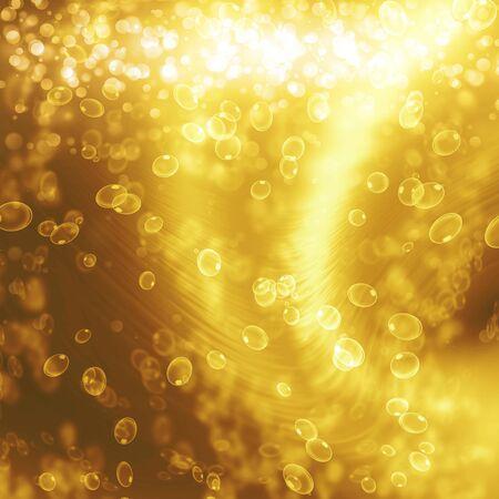 champagne bubbles on a golden background Banco de Imagens