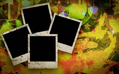 Blank photo frame on the grunge military background