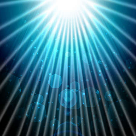 shining rays of glare and stars on a dark background, abstract