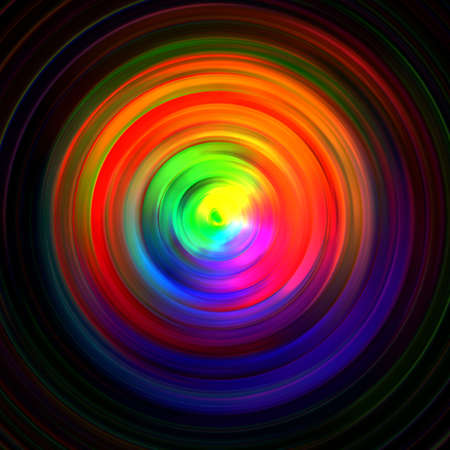 abstract background of colored concentric circles on a dark