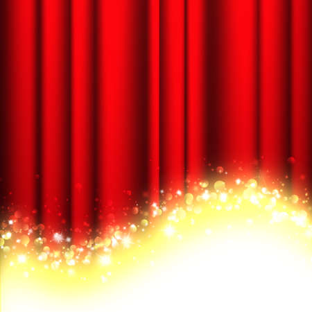 red theater curtain with stars Stockfoto
