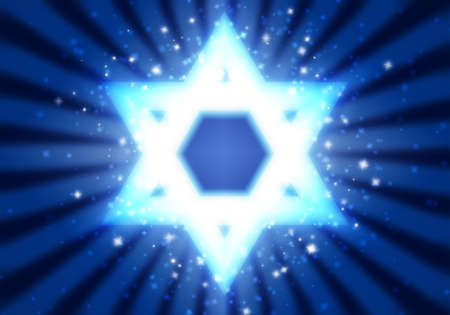 Star of David on a blue background among the stars