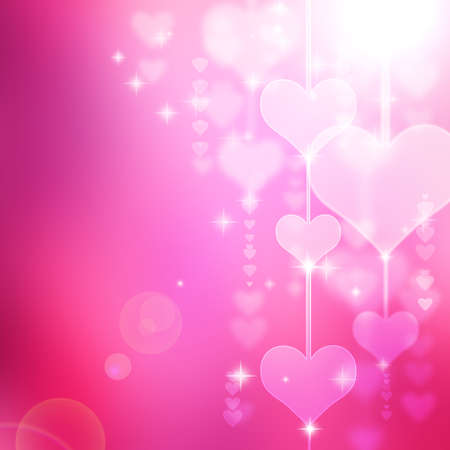 abstract romantic background with hearts and stars